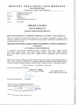 Informace o návrhu veřejnoprávní smlouvy