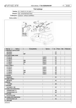 Kód obrazu: F 2U 55202/00-001 Č. Tisk katalogu