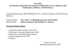 Pozvánka na Členskou schůzi Bytového družstva Poděbradova 61A
