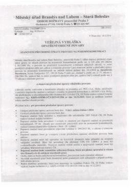 VV – stanoveni prechodne upravy provozu na poz. komunikacich