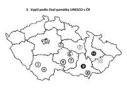 3. Vypiš podle čísel památky UNESCO v ČR
