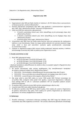 Regulamin akcji SMS - Centrum Metamorfoz