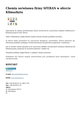 Chemia serwisowa firmy SFERAN w ofercie