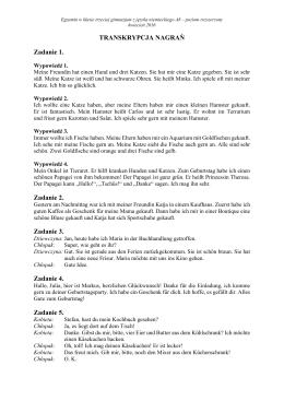 TRANSKRYPCJA NAGRAŃ Zadanie 1. Zadanie