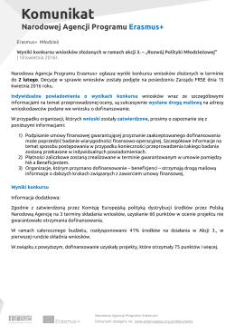 Erasmus+ Młodzież Wyniki konkursu wniosków złożonych w ramach