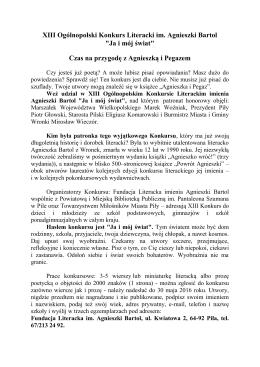 """XIII Ogólnopolski Konkurs Literacki im. Agnieszki Bartol """"Ja"""