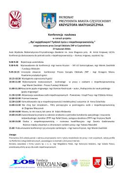 Program Konferencji -Być wyjatkowym