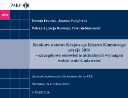Konkurs o status Krajowego Klastra Kluczowego edycja 2016
