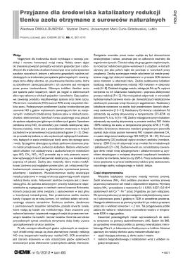Przyjazne dla środowiska katalizatory redukcji tlenku azotu