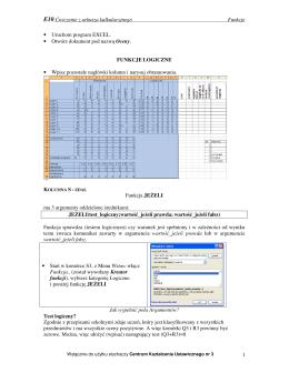 E10 Ćwiczenie z arkusza kalkulacyjnego Funkcje 1 • Uruchom