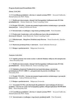 Program Konferencji DremaSilesia 2016 Sobota 23.04.2016 10.30