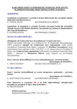 Kary orzeczone przez Wydział Dyscypliny w dniu 21 kwietnia