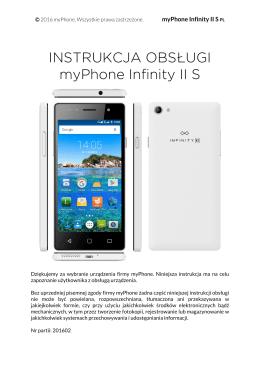 INSTRUKCJA OBSŁUGI myPhone Infinity II S