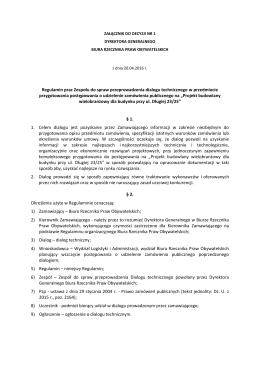Regulamin prac Zespołu do spraw przeprowadzenia dialogu