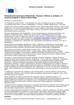 Oświadczenie komisarzy Malmström, Thyssen i Mimicy