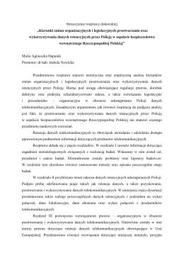 """Streszczenie rozprawy doktorskiej """"Kierunki zmian organizacyjnych i"""
