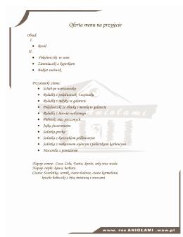 Oferta menu na przyjęcie