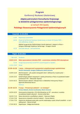Program Konferencji Naukowo-Szkoleniowej objętej