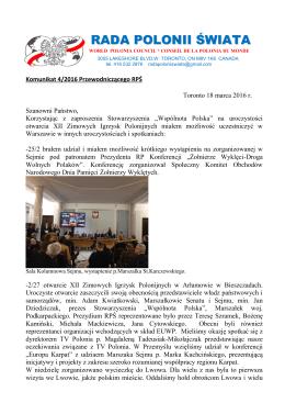 Komunikat 4/2016 - Rada Polonii Świata