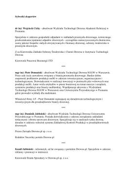 Sylwetki ekspertów dr inż. Wojciech Cichy