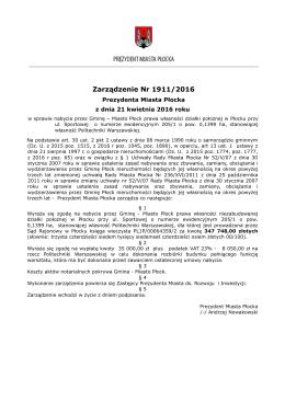Nr 1911/16 z dnia 21 kwietnia 2016r. - Urząd Miasta Płocka