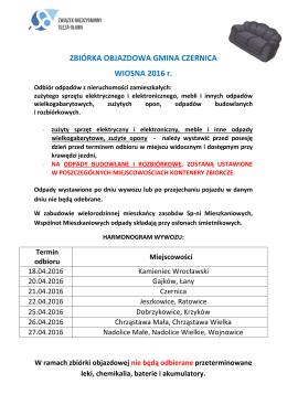 Informacja o zbiórce objazdowej