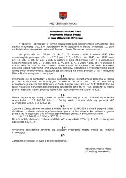 Nr 1905/16 z dnia 20 kwietnia 2016r. - Urząd Miasta Płocka