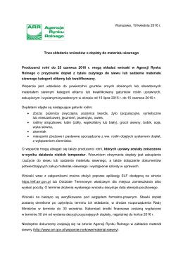 Producenci rolni do 25 czerwca 2016 r. mogą składać wnioski w