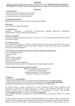 Regulamin - Młodzieżowe Obserwatorium Astronomiczne w