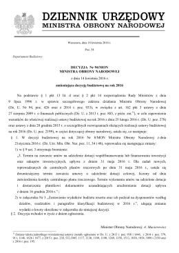 DECYZJA Nr 94/MON MINISTRA OBRONY NARODOWEJ z dnia 14