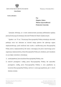 Wystąpienie do Ministra Sprawiedliwości ws. przepisów