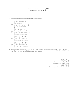 Algebra z geometrią MS Zestaw 9 – 20.04.2016