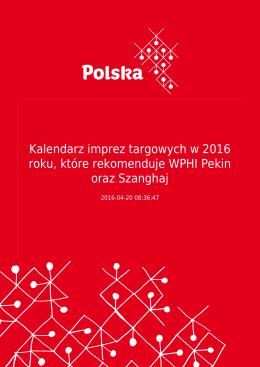 Kalendarz imprez targowych w 2016 roku, które rekomenduje WPHI