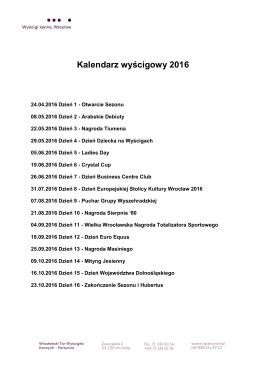 Kalendarz wyścigowy 2016