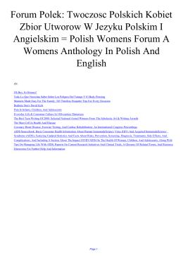 Forum Polek: Twoczosc Polskich Kobiet Zbior Utworow W Jezyku