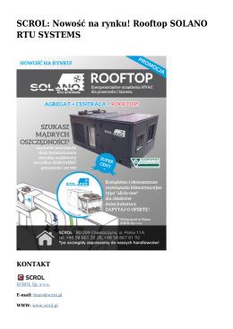 SCROL: Nowość na rynku! Rooftop SOLANO RTU