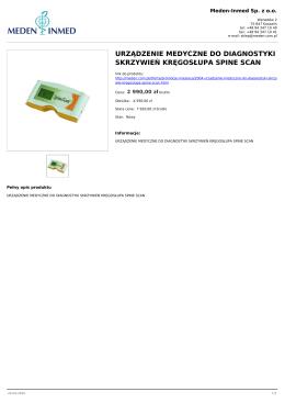 urządzenie medyczne do diagnostyki skrzywień - Meden