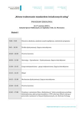 Program szkolenia - Instytut Spraw Publicznych