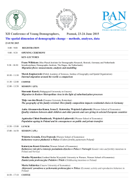 XII Conference of Young Demographers, Poznań, 23