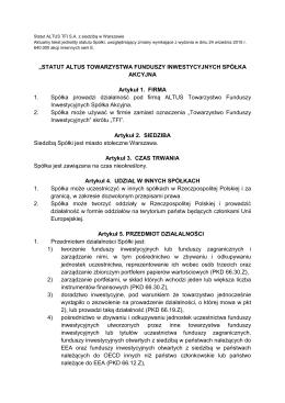 Statut Altus Towarzystwa Funduszy Inwestycyjnych