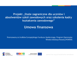 Umowa finansowa - Program Operacyjny Wiedza Edukacja Rozwój