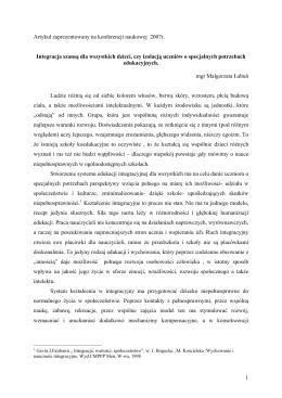 1 Artykuł zaprezentowany na konferencji naukowej 2007r. Integracja