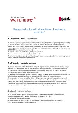 regulaminem konkursu - Sieć Obywatelska Watchdog