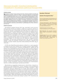 Zaburzenia dynamiki i dystrybucji mitochondriów w komórkach w