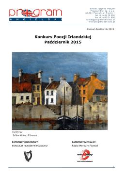 Konkurs Poezji Irlandzkiej Październik 2015 - Program-Bell