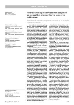 Polekowa neuropatia obwodowa u pacjentów ze szpiczakiem