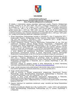 Ogłoszenie nt. konsultacji społecznych_PSRT WP do roku 2023