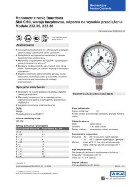 Manometr z rurką Bourdona Stal CrNi, wersja bezpieczna, odporna