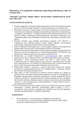 Załącznik nr 1 do regulaminu świadczenia usług drogą
