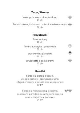 Zupy / Kremy Przystawki Sałatki